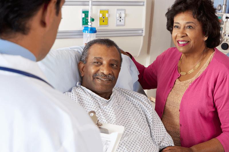ENT doctor reasuring patients. Patient care
